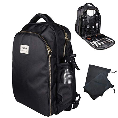 Hairdressing Styling Barber Bag Professional Salon Hair Tools Backpack For Clippers And Supplies Large Capacity Hair Stylist Cosmetic Travel Organizer With Accessory Pockets (Black)