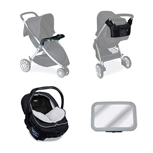 Britax Car Seat & Stroller Accessory Starter Kit | Baby Car Mirror +  Stroller Organizer + Child Tray + Insulated Infant Car Seat Cover