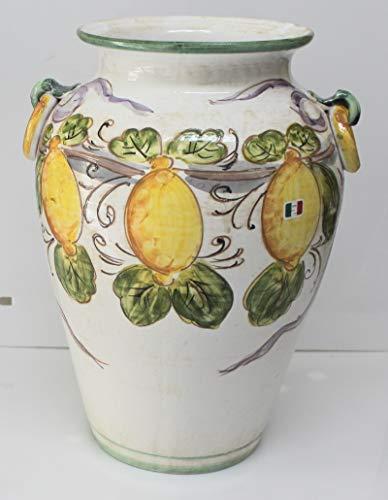 Pagano home portaombrelli porta ombrelli in ceramica decorato a mano Made in Italy altezza 50 cm. mod limoni vietresi
