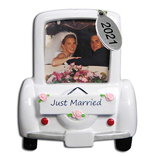 Our First Christmas Ornament 2021 Wedding Car Picture Frame Ornament with Bride and Groom - Easy to Personalize - Comes in an Organza Gift Bag