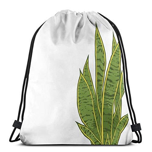 Dutars Sansevieria Trifasciata - Bolsa de Hombro con cordón, diseño de Serpiente (Color Blanco)