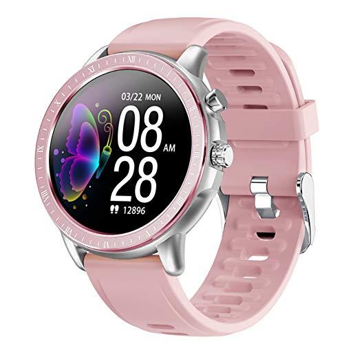 Juego de 2 relojes inteligentes de 1,3 pulgadas, IP67, impermeable, con tamiz redondo, monitor de ritmo cardíaco, para iOS y Android (negro, rosa)