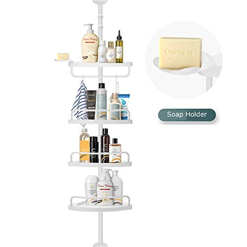 Lomejor 4-Tier 10ft Constant Tension Corner Shower Caddy Stand, Adjustable Height, Iron Pipe with Surface Sprayed, 4 White Plastic Basket