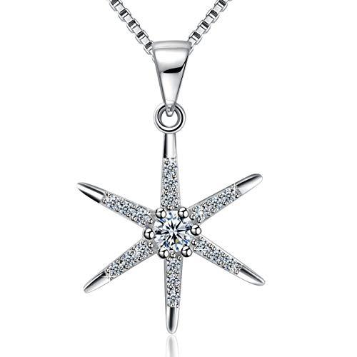 Amilril - Collar de mujer con colgante de estrella de plata de ley 925, regalo de Navidad