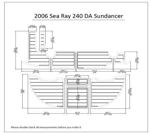 2006 Sea Ray 240 DA Sundancer Swim Platform Pad 1/4' 6mm Boat EVA Teak Decking (Dark Brown with Black Lines)