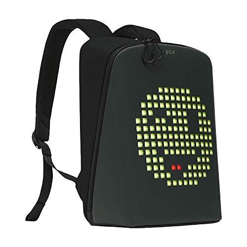 Save %24 Now! Pix Digital Customizable Backpack – Smart Waterproof Backpack with programmable LED Screen – 15'' Laptop Backpack for Women & Men (No Powerbank, Black)