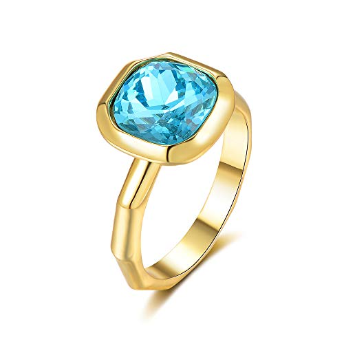 Aprilery Cocktail Rings for Women 18K Gold Plated Blue Gemstone Crystal Rings for Girls