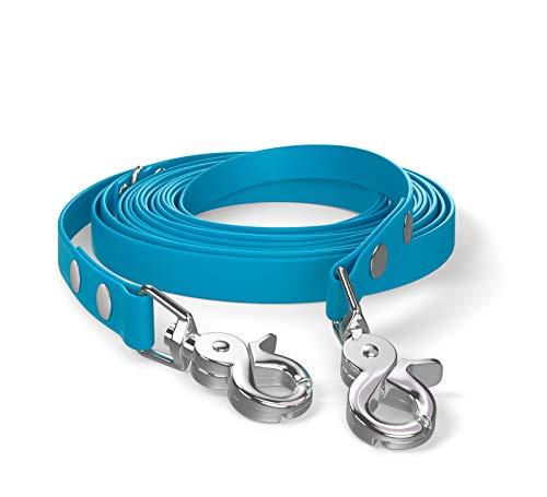 5m sleeplijn, hondenriem, 2 karabijnhaken & D-ring, cyaanblauw, zeer stabiel, vuil- en waterafstotend