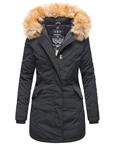 Marikoo Damen Winter Jacke Parka Mantel Winterjacke warm gefüttert B362 [B362-Karmaa-Schwarz-Gr.3XL]