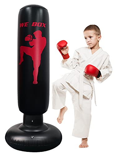 Kids Punching Bag, 63inch Free Standing Boxing Bag with Stand for Practicing Karate, Taekwondo, MMA in Adult Kids - Easy to Assemble Giftable for Home/Office/Workout