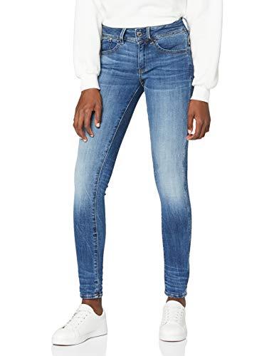 G-STAR RAW Damen Jeans Lynn Mid Waist Skinny Jeans, Schwarz (Medium Indigo Aged), 26W / 32L