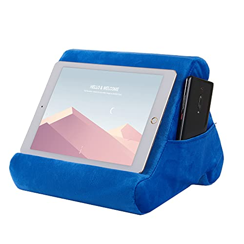 Drefure Pillow Tablet Stand,Pillow Soft Pad for Lap - Tablet Holder Dock for Bed with 3 Viewing Angles, Compatible with iPad, Tablets, e-Readers, Smartphones, Books, Magazines-Navy