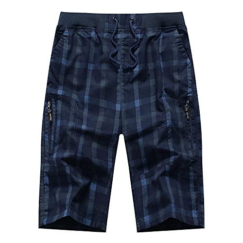 Shorts Pantalones Cortos Hombres Pantalones Cortos Largos De Algodón A Cuadros para Hombre, Pantalones 3/4, Bolsillo con Cremallera, Pantalones De Cintura Elástica para Hombre, Pantalones De CINT