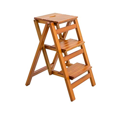 Escalera SCBED multifuncion plegable de madera de heces |Nivel 3 Escalera Escalera Silla |Banco de calzado portatil estante de la flor |para adultos y ninos, la carga maxima de 150 kg (Color : C)