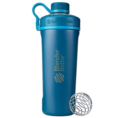 BlenderBottle Radian Shaker Cup Insulated Stainless Steel Water Bottle with Wire Whisk, 26-Ounce, Deep Blue