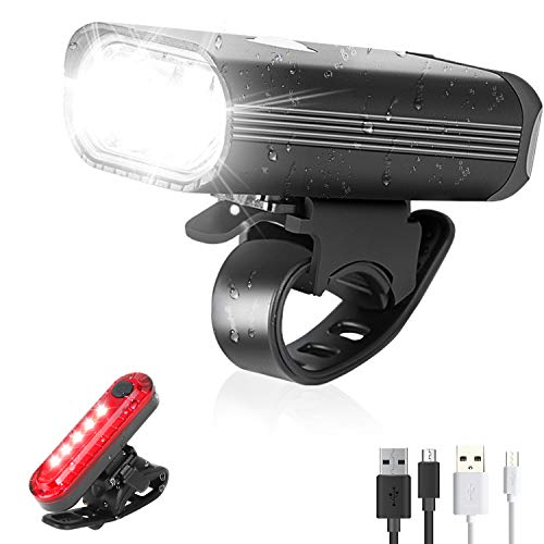 Bike Lights Set, Led Cycle Lights Front and Rear, USB Rechargeable Bicycle Lights Headlights Taillight, 4 Lighting Modes Safety Cycle Lights with IPX4 Waterproof LED Bike Lights Fits All Bicycles