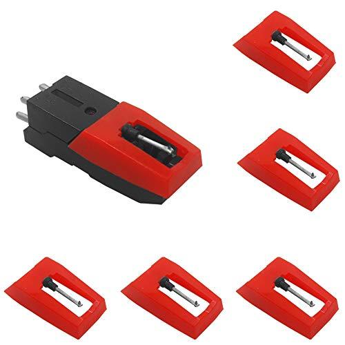 SourceTon, set di 5 cartucce per giradischi in vinile con aghi universali di ricambio, 1 cartuccia per giradischi e 4 pennino per penna a rullo, per LP Fonografo registratore