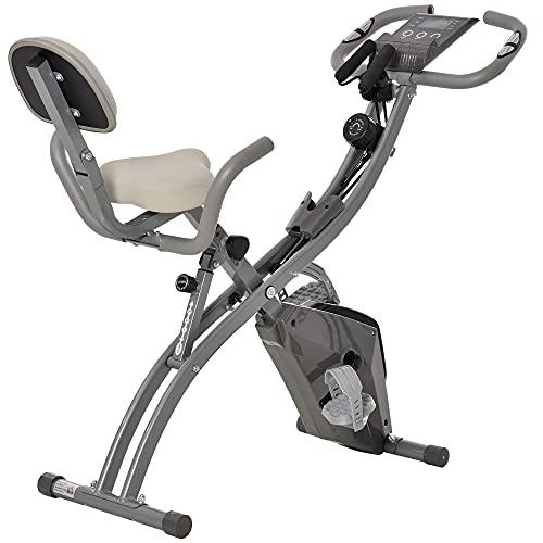 homcom Cyclette Pieghevole 2 in 1, Resistenza Magnetica Regolabile 8 Livelli, Bici da Fitness con Sensore di Frequenza Cardiaca, Elastici per Braccia, Schermo LCD, Volano 2.5kg, Grigio