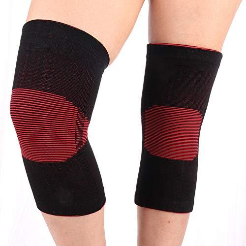LINBUDAO 1 paar kniebeschermers, warme kniebeschermers, zwarte en rode hoog-elastische fiets-kniebeschermers voor buiten