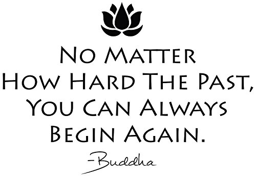 YINGKAI No Matter How Hard The Past You Can Always Begin Again Inspirational Decals Buddha Quotes Religious Wall Decor Sticker for Home Window Decoration