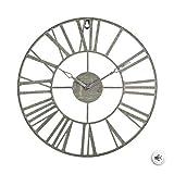 Zenhica Reloj de Pared Vintage de Metal, Reloj Decorativo Retro Colgado con Mecanismo Silencioso, Decoración para Salón, Oficina, Bar, Cocina Dormitorio, 36,5 cm (Gris)