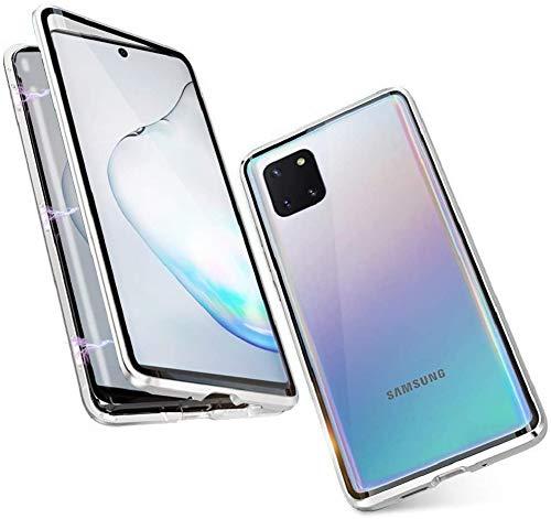 Preisvergleich Produktbild Handyhülle für Samsung Galaxy Note 10 Lite / A81 Hülle Magnetische Adsorption Case Metallrahmen Handyhülle 360 Grad Schutzhülle Vorne und Hinten Schutz Transparent Gehärtetes Glas Flip Cover, Silber
