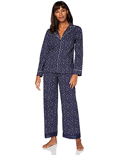 Iris & Lilly Damen Pyjama-Set aus Baumwolle, Blau (blauer Stern), L, Label: L