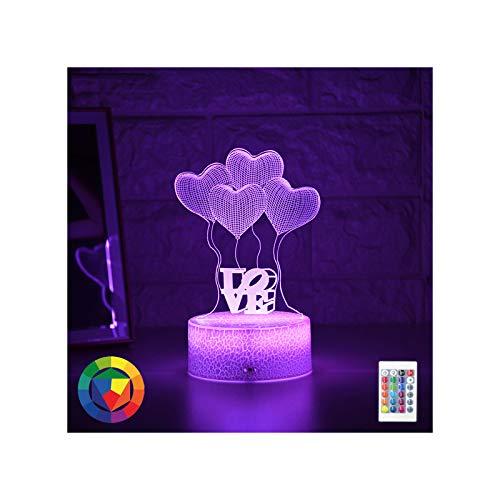 Luz De Noche para Chico, Lámpara Led 3D, Luz De Noche, Lámpara Creativa De Mesita De Noche, Globo Romántico, Luz De Amor, Regalo De Decoración del Hogar