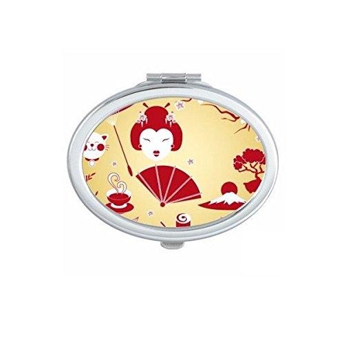 Japan Cultuur Rood Geel Wit Beker Sushi eetstokjes Geisha Lucky Kat Boogboog Karper Paraplu Bamboe Sakura Illustratie Patroon Ovaal Compact Make-up Pocket Spiegel Draagbare Leuke Kleine Hand Spiegels