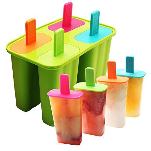DeHub Stampi ghiaccioli,Stampo Ice Lolly Stampo Ghiaccio in Silicone per Uso Alimentare Certificato FDA, Stampi per Popsicle BPA gratuiti con Stick e gocciolatoi (Verde, 1 piezas)