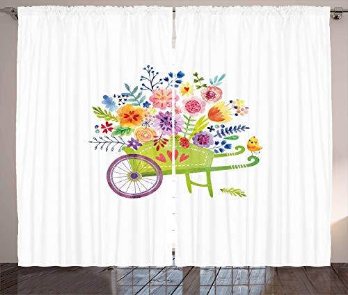 ABAKUHAUS bloemen Gordijnen, kruiwagen Bloemen, Woonkamer Slaapkamer Raamgordijnen 2-delige set, 280 x 245 cm, Veelkleurig