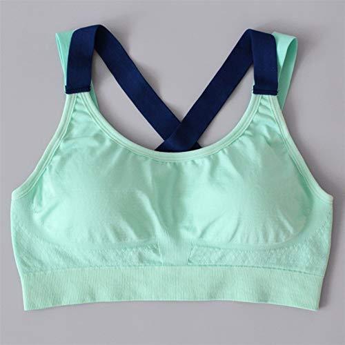 Mujeres deportes Sujetadores acolchados Sujetador deportivo Correr Fitness Yoga Deportes Tops (Color : Green, Size : Medium)