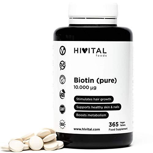Biotina 10000 mcg | 365 compresse vegane (Fornitura di un anno) | Vitamina B7, B8 o H che stimola la crescita dei capelli, aiuta a mantenere in salute la pelle e le unghie e migliora il metabolismo