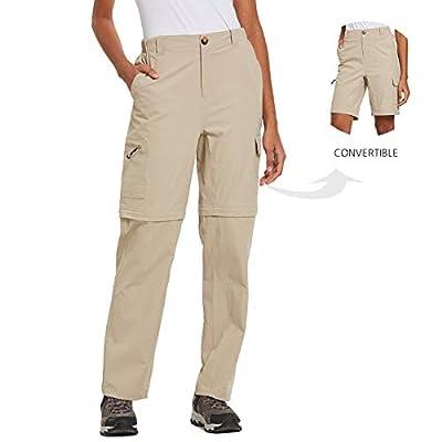 BALEAF Women's Hiking Convertible Cargo Pants Golf Fishing Water Resistant Khaki M
