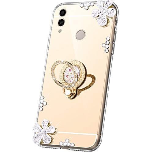 JAWSEU Compatible avec Coque Huawei Honor 10 Lite/P Smart 2019 Miroir Paillette Glitter Strass Fleur Silicone Gel TPU Etui Housse avec Diamant Support de Bague Antichoc Bumper Case,Or