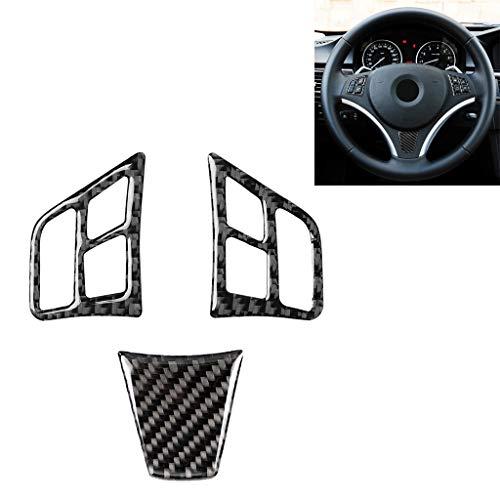 Zhoutao 3 en 1 coche de fibra de carbono color sólido botón del volante de la etiqueta engomada for BMW Serie 3 E90 2005-2012, izquierda y derecha Universal Drive