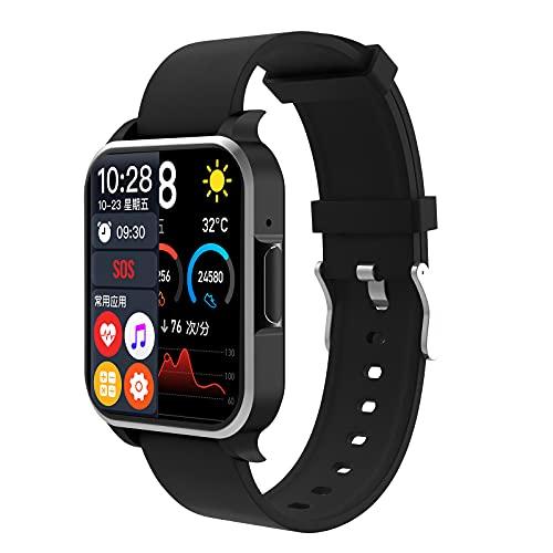 QFSLR Smartwatch con Llamada Bluetooth Monitor De Frecuencia Cardíaca Monitor De Presión Arterial Monitoreo De Oxígeno En Sangre Monitoreo De Temperatura De Reloj Inteligente,Negro,largre