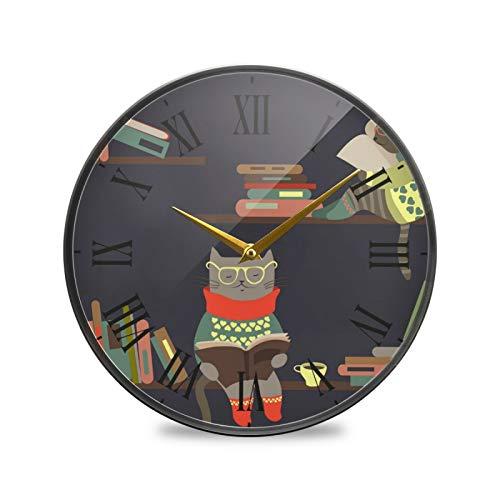 Leyendo Gracioso Gato Gatito Arte Reloj de Pared Silencioso Decorativo Relojs para Niños Niñas Cocina Hogar Oficina Escuela Decoración