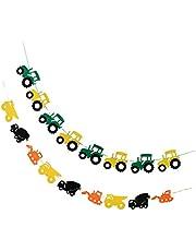 freneci 2 st traktor bil filt banderoll baby shower barn födelsedag hängande dekor