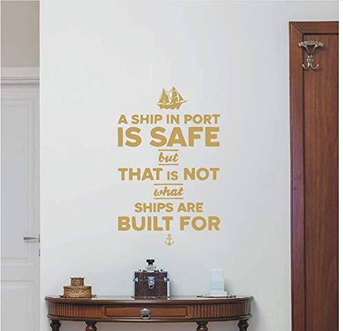 zwyluck muursticker, vinyl, citaat van een boot aan de deur is veilig met een boot en de kunst van het anker, huis, raamdecoratie DIY, 66 x 42 cm