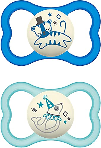 Instrucciones en lengua extranjera - MAM Air Night - Juego de 2 chupetes de silicona para bebé con diseño de escudo extra ligero y ventilado con caja para chupete más de 16 meses diseño de tigre/foca