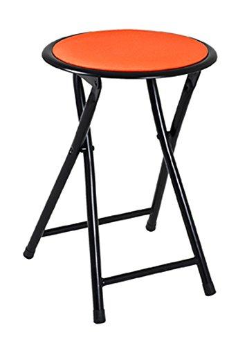 PEGANE Tabouret Pliante Noir-Orange, L30 x H45 x P30 cm