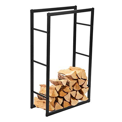 Kaminholzregal 100x60x25cm, Outdoor Schwerlast Brennholzregal mit Metall Stahlrahmen, Tragfähigkeit 200 lbs, Feuerholzregal für 7 Rostschutzverfahren, Kaminholzständer für Außenöfen Garage Wohnzimmer