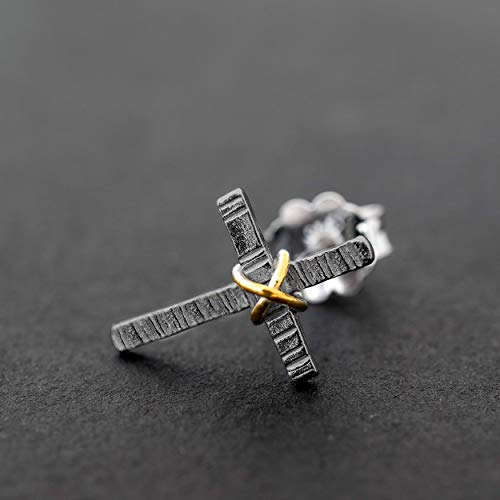Schwarz Sterling Silber Ohrringe für Männer Ohrstecker Männer Ohrringe Kreuz Ohrstecker Herren Schmuck Geschenk für Männer Ohrringe Freund Geschenk
