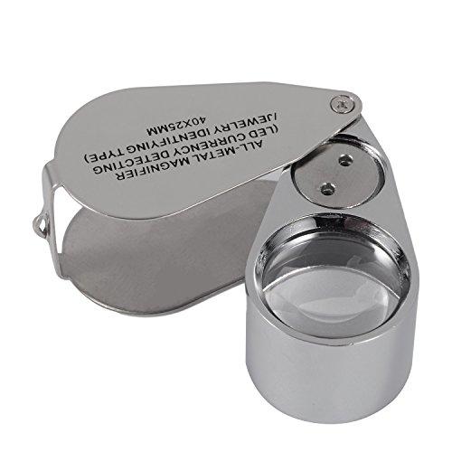 Fuwok 40x Full Metal illuminato gioielli lente d' ingrandimento, Xyk pieghevole Scientific documento lente d' ingrandimento occhio lente di ingrandimento per gioiellieri con luce LED e UV FDJ02