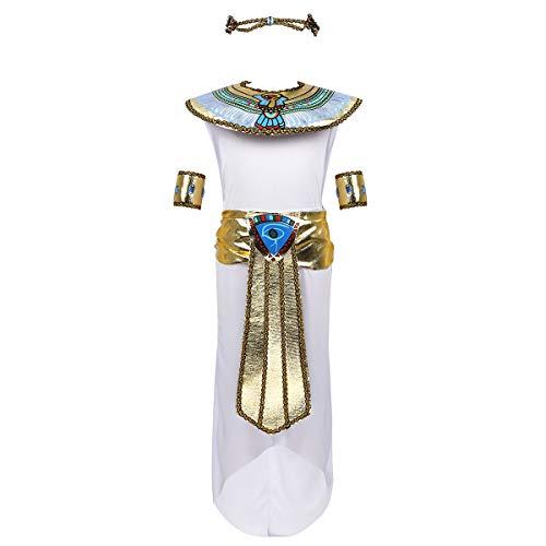 dPois Kinder Mädchen Ägyptische Königin Kostüm Ärmelloses Kleid mit Zubehör Kleopatra Verkleidung Cosplay Outfits für Halloween Mottopartys Karneval Weiß 122-140/7-10 Jahre