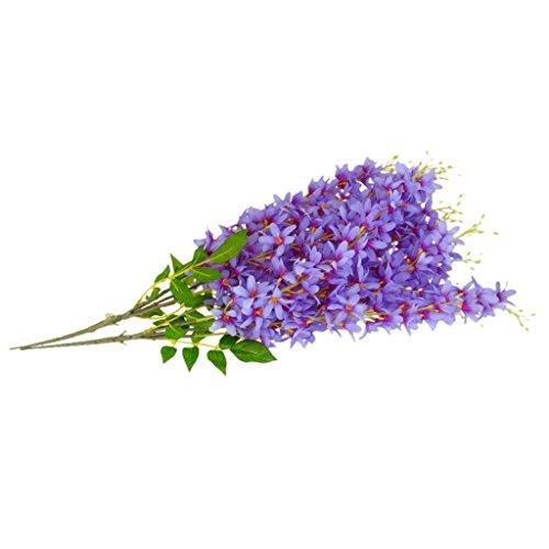 joyMerit 2 Buches Artificial Lilac Silk Flower Vine Vine Hanging Wall Party Decoración del Telón De Fondo - Violeta, Individual
