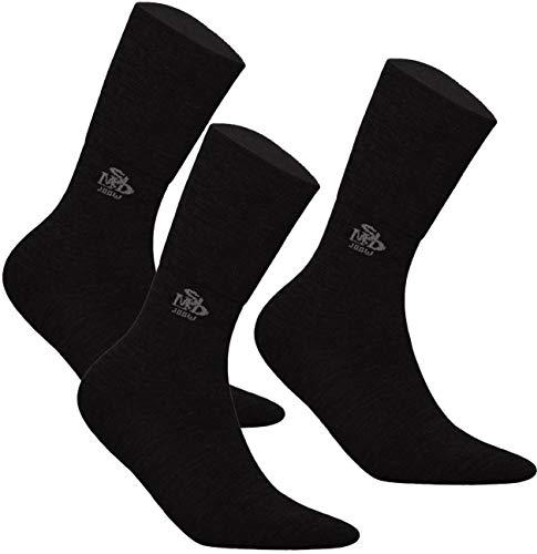 DeoMed 3paar MerinoWolle Diabetiker Socken ohne gummi dünn für Herren & Damen (35-38, Schwarz - 3paar)