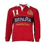 Oranguthan Camiseta Polo Rugby España Hombre Manga Larga, Rojo, 100% Algodón, 280gr, Estilo Deportivo, Original (S)