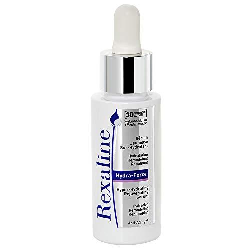 Rexaline Hydra-Force - jungmachendes optimal feuchtigkeitsspendendes Serum - aufpolsterndes Gesichts-Serum - feuchtigkeitsspendende und jungmachende Gesichtspflege - Hyaluronsäure Duo - 30 ml